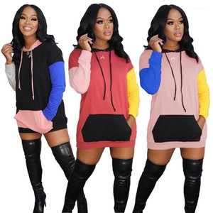Loose Ladies Sweatshirts Fashion Casual Autumn Winter Female Clothing Womens Designer Hoodies Dress Long Sleeve Panelled Contrast Color