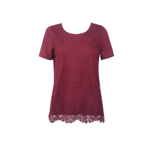 In Stock Viscose T Shirt Women O Neck Short Sleeve Top With Lace