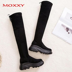 Moxxy Black Long Warm Fur Winter Boots Women 2020 Sexy Over The Knee Boots Gothic Shoes Woman Fashion Platform Thigh High