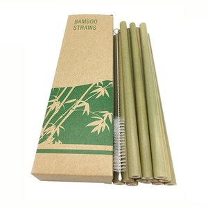 Bambou de paille naturelle réutilisable de fête avec barre buvant des pailles nettoyantes brosse Eco-respectueuse des pailles 10/12 pcs Bamboo Outil de boisson Bamboo LBVMC