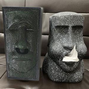 Easter Island Paper Towel Container 3D Stone Statue Figure Tissue Storage Box Home Bathroom Hotel Napkin Holder Organizer