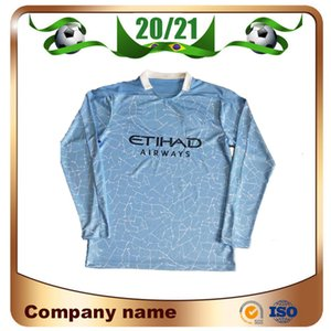 NCAA 2020 Manchester Long Sleeve Home Soccer Jerseys 20 21 Away KUN AGUERO DE BRUYNE G.JESUS Shirt Goalkeeper C.BRAVO Football Uniform