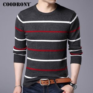 COODRONY O-Neck Pullover Men Brand Clothing Autumn Winter New Arrival Cashmere Wool Sweater Men Casual Striped Pull Men 152 201019