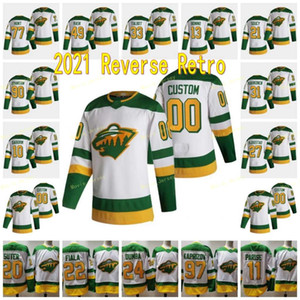 Minnesota Wild 2021 Reverse Retro 20 Ryan Suter 11 Zach Parise 97 Kirill Kaprizov 22 Kevin Fiala 90 Marcus Johansson 33 Cam Talbot Jersey