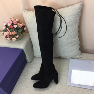 mulheres clássicas de alta qualidade sobre as botas do joelho preto mulheres camurça do inverno sobre as botas no joelho altas