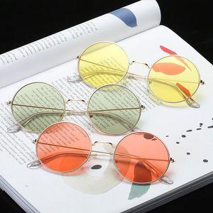 New Round Women Sunglasses Fashion Colorful Ocean Lens Sunglasses Retro All-match Street Shooting Glasses Driving UV400 Oculos Jclbg