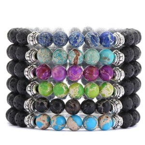 Seven Chakras 8mm Black Lava Stone Beaded Bracelet Essential Oil Diffuser Bracelet Volcanic Rock Buddha Yoga Hand Strings Jewelry