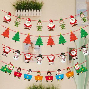 New Cute Christmas hanging flag Snowman Banners Santa Claus Flags Christmas Door Wall Hanging Decoration Ornaments 15 styles OWD2249