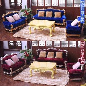 1/25 Diy Dollhouse Mobilier miniature Couch Canapé Sofa Coussin Modèle Jouet Y200428
