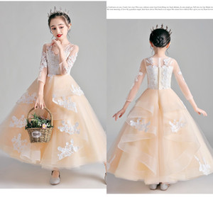 Champagne Ivory Lace Flower Girl Dresses For Wedding With Long Sleeve Ruffle Sheer Neckline Zipper Mini Formal Dress Gowns Party Kids