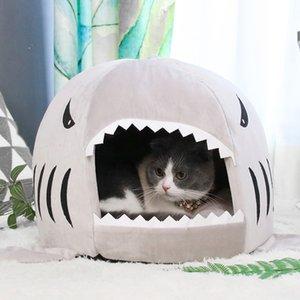 Willstar Pet Cat Bed House серая акула форма питомника собака теплый спальный коврик Удобные кровати для небольших больших домашних животных 201111