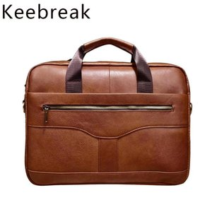 Pastagens KeeBrak 2021 Homens Bolsa de Pasta De Couro Natural Luxo Masculino 14 polegadas Caso Laptop Genuine Man Office Handbags