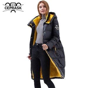 Ceprask Yeni Aşağı Ceket Kadın Parka Yüksek Kalite Kalın Pamuk Moda Uzun Kontrast Renk Kış Coat Giyim Y201012