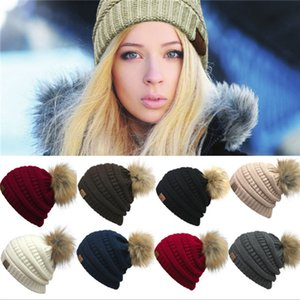 Women Beanies hat Winter Crochet Hats Casual Outdoor Hat Solid Ribbed Beanie with Pom Cap CNY852 .
