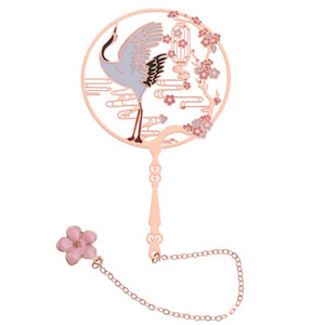 Chinese Style Retro Bookmark Fan Shape Brass Peacock Tassel Metal Book Clip Pagination Beautiful Book Mark Stationery