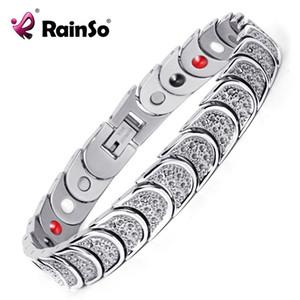 Rainso chapado acero inoxidable 4 elementos terapia Pulseras magnéticas de potencia de alta resistencia para hombres OSB-768SFIR