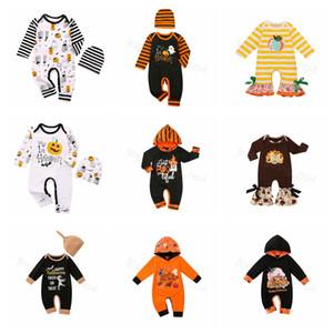 Halloween vestiti del bambino pagliaccetti infantili di zucca Lettera Ragazze pagliaccetto del manicotto Hat spilungo tute Boutique Abbigliamento bambino 12styles FFA4473