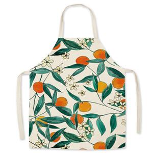 النباتات المطبوعة المطبخ المئزر المرأة الكتان مريلة الكبار الاطفال أكمام الأزهار طباعة مآزر المنزل الطبخ الخبز المريلة أدوات المطبخ DBC BH4587