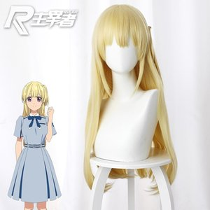 The High Quality Wigs ! Virtual Idol 22 7 Fujima Sakura Cosplay Yellow Modelling Long Hair Unisex Role Play Accessories