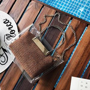 TekiEssica Summer Beach Bag PVC transparente sacos transparentes sacola Holograma Bolsas Corrente de Ouro Mulheres Bolsas de Ombro