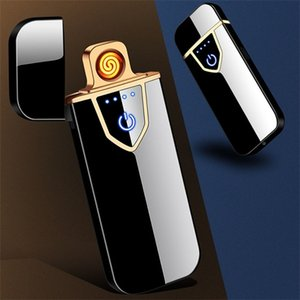 USB Charging Touch Screen Sense Windproof Cigarette Lighter Double Side Fire Electronic Lighter Portable Metal Lighters BH2616 TQQ