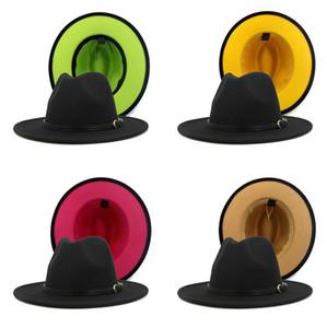 Autumn Winter Panama Cap Women men Jazz Formal Hat Lady Felt Fedora Hats fashion Patchwork wide Brim caps Trilby Chapeau christmas gift