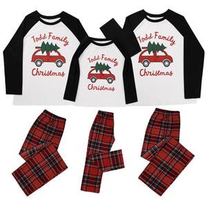 Pai-criança Natal família pijama xmas design correspondência manga longa tops calças xadrez de duas peças roupas adultos crianças roupa nova E110203