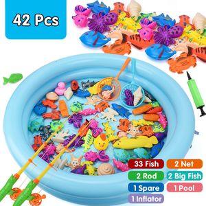 42PCS الأطفال بوي لعبة فتاة الصيد مجموعة دعوى اللعب المغناطيسي لعب اطفال ورضيع أسماك المياه الساخنة هدية مربع للأطفال 1018