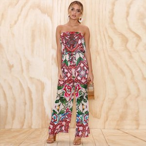 women tracksuit Floral Print Off Shoulder Women Sexy Strapless Backless Summer Beach Sleeveless Clothes Drop Shipping