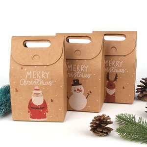 20PCS Lot Christmas Santa Snowman Deer Kraft Candy Gift Bags Cookie Bags Merry Christmas Guests Packaging Boxes Party Decorations