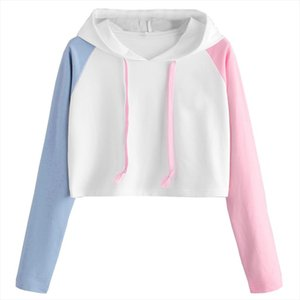 Women Girl Simple Hoddies Patchwork Colorized Long Sleeve Tracksuit Casual Short Preppy Crop Jumper Pullover Tops LR2