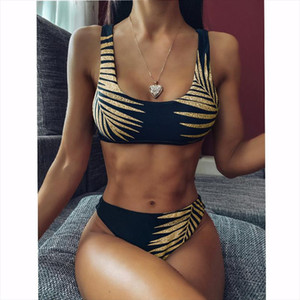 Shining Bikini Set 2020 High Waisted Bikini Leaf Women Swimwear Black Sport Wear Gold Swimsuit Female Swim Wear Beachwear Brail