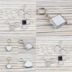 Transfert à chaud porte-clés double face Sublimation Blanks Love Heart circulaire carrée en métal Bague Miroirs Boucle d'impression photo 3 2hh F2