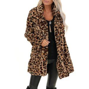 Winter Coats Women Jacket Nice Leopard Teddy Outwear Pocket Fuzzy Warm Winter Oversized Casual Thick Warm Outerwear T3
