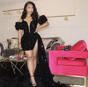 Sparkling Preto Vestidos de Prom 2021 Vestido de Noite Backless Feminino Mulheres Sexy Curto Partido Wear Long Trail Split Abiye Dubai Vestidos Borgonha