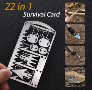 EDC Kit 22 Dans 1 engins de pêche Carte de crédit multi-outils camping en plein air Équipement de survie Outils de chasse de survie