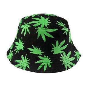 FOXMOTHER New Hip Hop Unisex Grün-Schwarz-Farben-Blätter drucken Angeln Caps Gorros Bucket Hat im Freien Männer Frauen