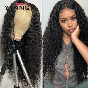 YYong 1x4 & 13x1 Hairline 6x1 Topline Lace Wig Brazilian Lace Front Human Hair Wig Remy Deep Wave Transparent Wigs 32 inch