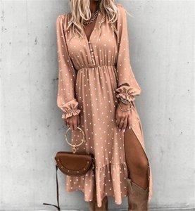 UGDG 여성 Boho 프린트 여름 Lond Dress Party Maxi Loose Sundress Floral Wrap V-Neck Long Sleeve Elegante Dresses 칵테일 휴가