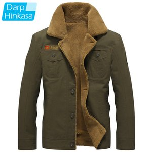 DARPHINKASA 2020 Winter Bomber Jacket Men Air Force Pilot Jacket Warm Men Fur Collar Men Army Tactical Fleece Jacket Q1110