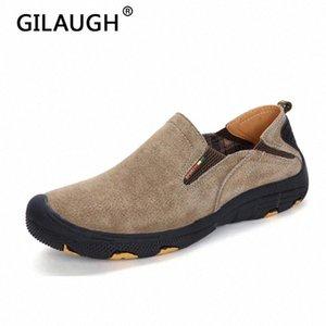 Gilaugh New 2020 модные кроссовки стиль натуральные кожаные мужчины повседневные туфли высокой угля дышащие скольжения мокасины мужская обувь # VF3C