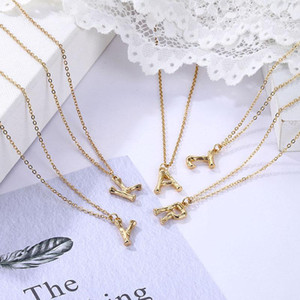 EN Hot Sale Women Gold Alloy 26 Letters Alphabet A-Z Minimalist Initial Pendant Necklace Fashion Twist Chain Neck Jewelry