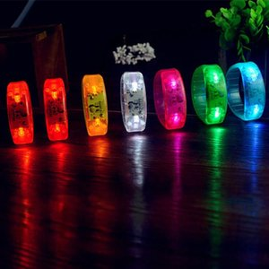 Hot New Unisex Sound Controlled LED Light Up Bracelet Activated Glow Flash Bangle For Mother's Day Festival Party fast delivery
