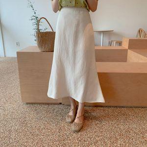 Women Skirts Fashion New High Waist Skirt Women Spring Girls Summer Skirts Midi Womens solid white Elastic Waist A Line Ladies