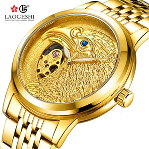 Laogeshi Automatic Mechanical Watch for Men Stainless Waterproof Gold Eagle Diamond Dial Luxury Fashion Wristwatch Relogios