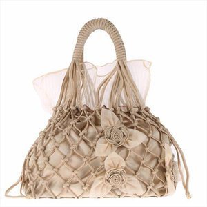 2020 new silk hollow out evening bags handmade flowers kont shoulder bags for girls lace wedding tote drop shipping MN1472