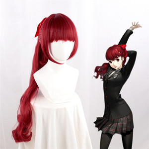 Game Persona 5 Yoshizawa Kasumi Red Wig Cosplay Costume Heat Resistant Synthetic Hair Halloween Party Wigs