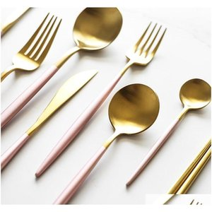 410 acciaio inox clotlery stoviglie a buon mercato 4pcs nero flatware oro set acciaio inox posate set coltello f jllojm Trustbde