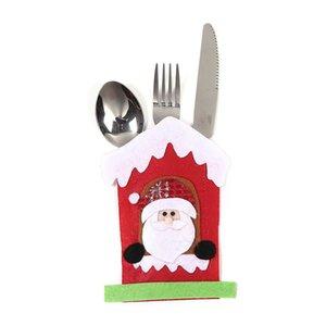 Sac Couverts de Noël Père Noël Bonhomme de neige de Noël Moose Nouvel An Couteau de poche Fourchette Couverts Porte-sac non-tissé Table Dîner Décoration GGE1779