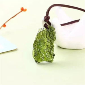 Hot Sale A++ Natural Moldavite green aerolites crystal stone pendant energy apotropaic4g-5g  lot+ free rope Unique Necklace 201013